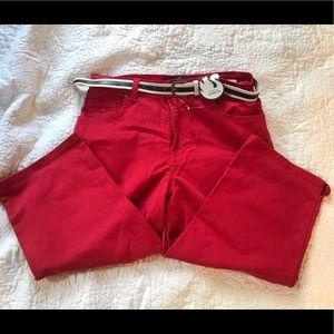 Never worn red Amanda capris with belt